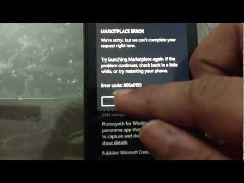 Error 805a0193 on Windows Phone