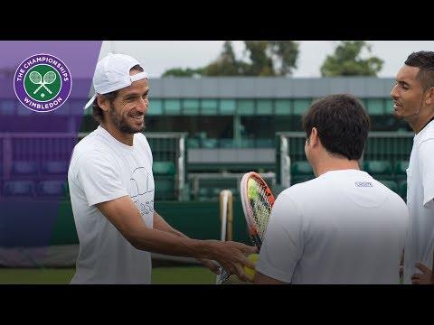 Nick Kyrgios and Feliciano Lopez train at Wimbledon 2017