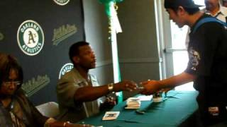 Rickey Henderson At A's Root Beer Float Day