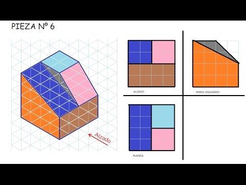 Alzado planta y perfil de una pieza e6 vistas dibujo for Plano de planta dibujo tecnico