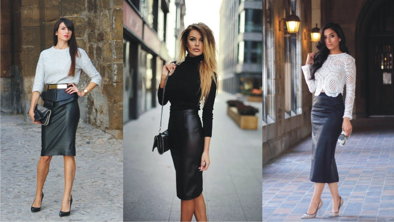 dazzling leather pencil skirt