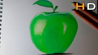 How to draw a apple with Colored Pencil Pitt Pastel Step by Step - Timelapse