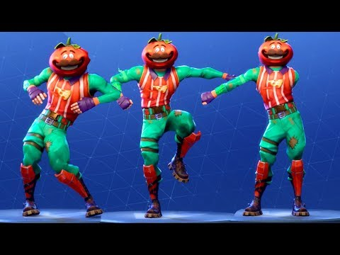 Fortnite TOMATOHEAD Performs All Dances - All SEASON 1-4 Dance Emotes