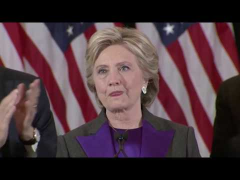 Hillary Clinton concedes, calls for peaceful transition of power