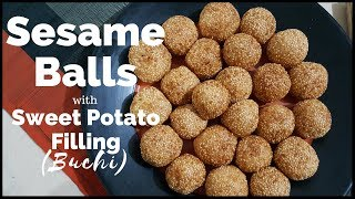 How to Make Buchi with Kamote Filling  Sesame Balls with Sweet Potato Filling