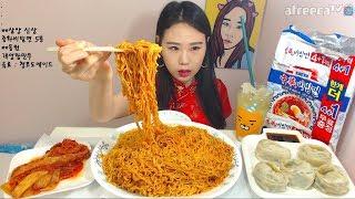 신상 중화비빔면 왕만두 먹방 吃播 Mukbang eating show 180428