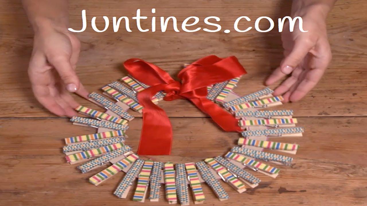 Corona navide a casera decoraci n para navidad youtube for Decoraciones de navidad para hacer en casa