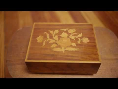 Vintage Reuge Italian Wood Inlay Rose Floral Swiss Music Box What I Did For Love