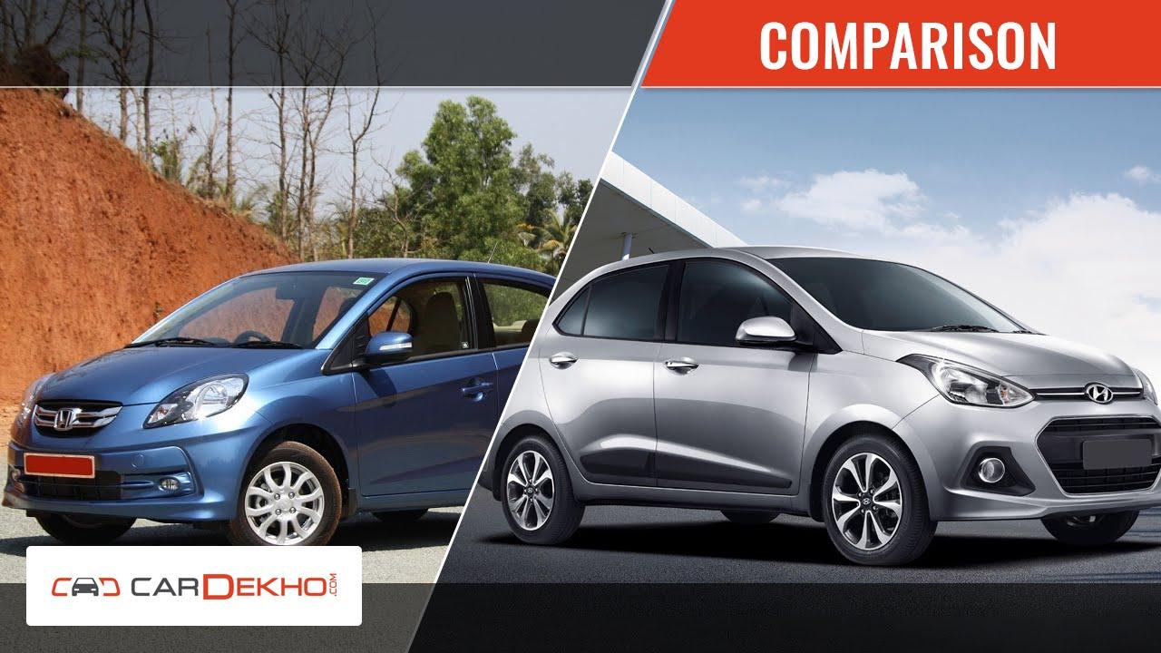 Honda Amaze Vs Hyundai Xcent Video Comparison Cardekho Com Youtube