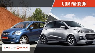 Honda Amaze Vs Hyundai Xcent | Video Comparison  | CarDekho.com
