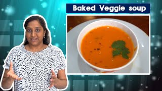 Baked veggies soup – healthy – diet soup for weight loss
