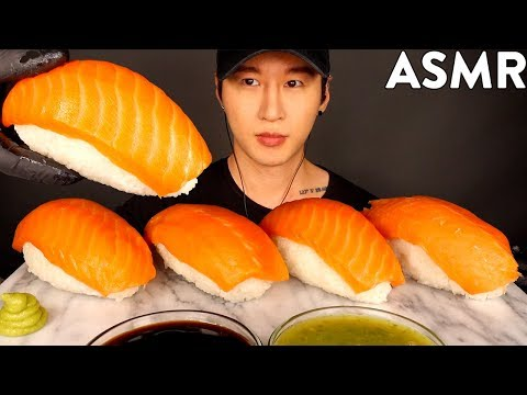 ASMR GIANT SALMON SASHIMI NIGIRI MUKBANG (No Talking) COOKING & EATING SOUNDS | Zach Choi ASMR