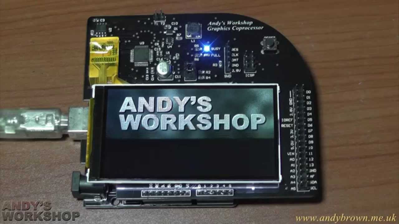Arduino Uno R3 graphics accelerator shield uses no pins | Andys Workshop