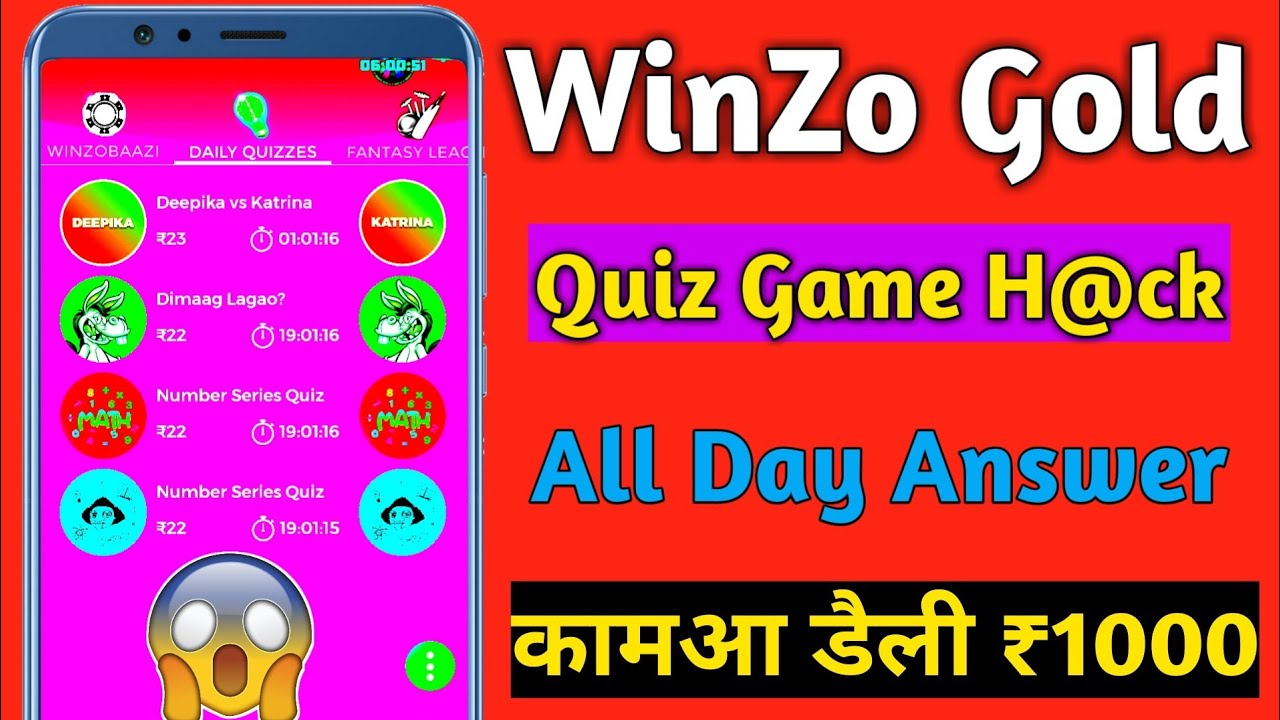 WinZo Gold Quiz Games All Day H@ck Tricks Update | Earn Daily 1000 Rs Paytm cash Daily | TrickySK