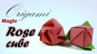 Origami Magic Rose Cube 🌹 How To Make an Origami Magic Rose Cube - DIY Modular Rose ACTION ORIGAMI