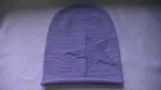 Вязание  шапки бини с узором  большая звезда.