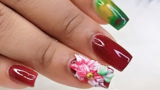 Nail art Designs/short acrylic nails with christmas flower 3d/ Uñas acrilicas cortas Con flor 3D