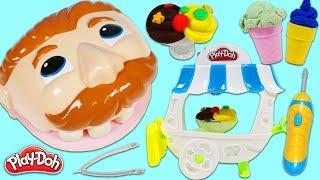 Feeding Mr. Play Doh Head Desserts from Ice Cream Sundae Cart!