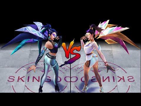 KDA ALL OUT Kai'Sa vs KDA ALL OUT Kai'Sa Prestige Edition Skin Comparison Spotlight