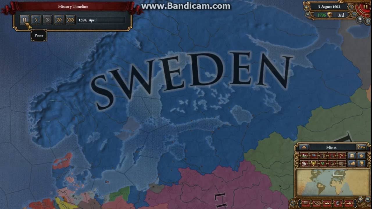 Europa Universalis Timelaps Rise Of The Swedish Empire Pt - Sweden map game