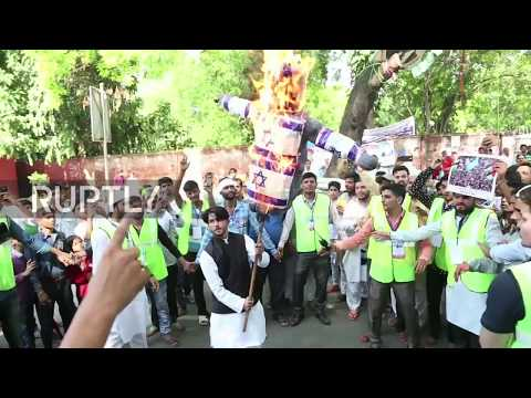 India: Al-Quds Day protesters burn Israeli flag in New Delhi