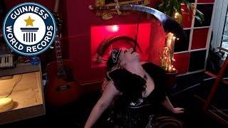 Daniella D'ville attempts impressive sword stunt - Guinness World Records