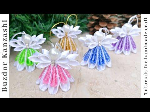 DIY kanzashi angel 04 - kanzashi angyalka 04 - Christmas angel ornaments