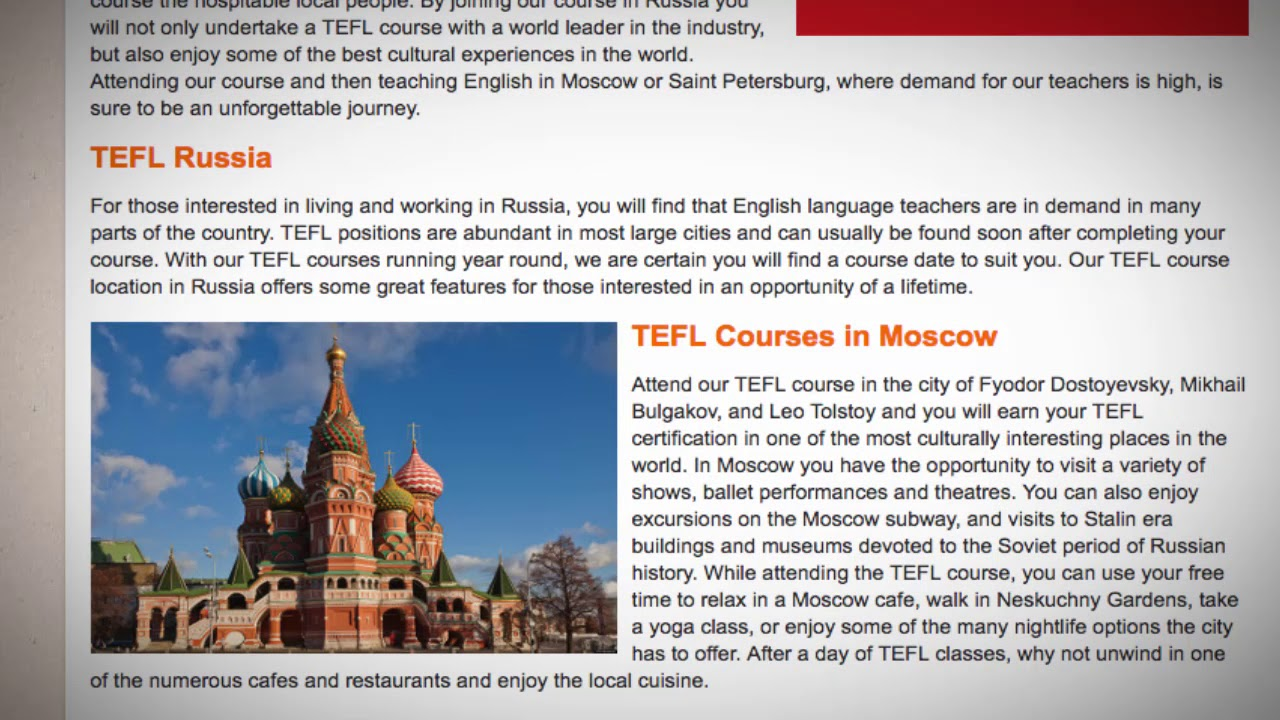 Tefl Tesol Course In Russia Teach Live Abroad Youtube