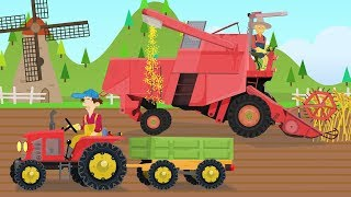 Red Combine Harvester and two working farmers - grain collection | Tractors Video, Bajki Traktory