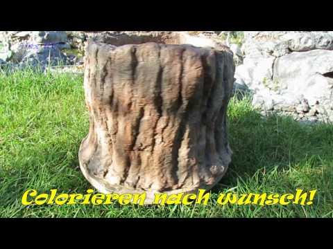 Gartendeko . Pflanzkübel als Baumstumpf aus Beton selber machen .