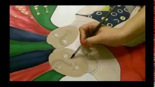 Мастер Класс. Холодный Батик. Роспись шарфа / silk painting workshop(Больше смотри на chapo.ru Роспись шелкового шарфа