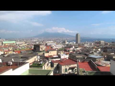 Views of the port of Naples and Mt Vesuvius, Italy