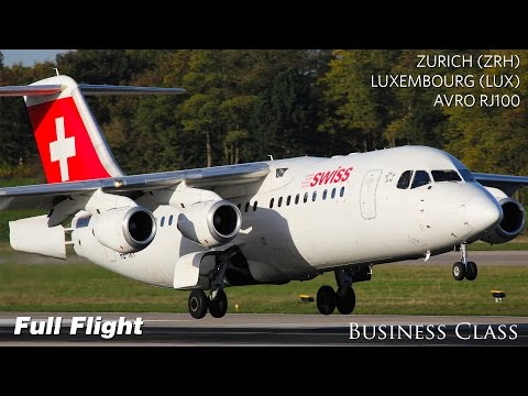 Swiss Business Class Full Flight | Zurich to Luxembourg | Avro RJ100 (with ATC)