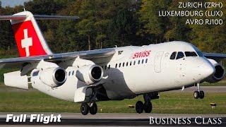 Swiss Business Class Full Flight | Zurich to Luxembourg | Avro RJ100 (with ATC)