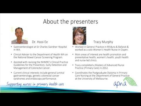 National Bowel Cancer Screening Program: Webinar for nurses working in general practice