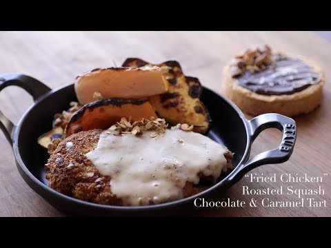 """Fried Chicken"", Roasted Squash, & Chocolate Carmel Tart (Sriracha and Wasabi & Soy Sauce almonds)"