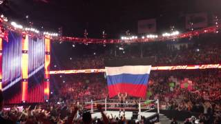 Big Show Pulls Down Russian Flag: WWE Monday Night RAW Chicago: 9-29-2014.