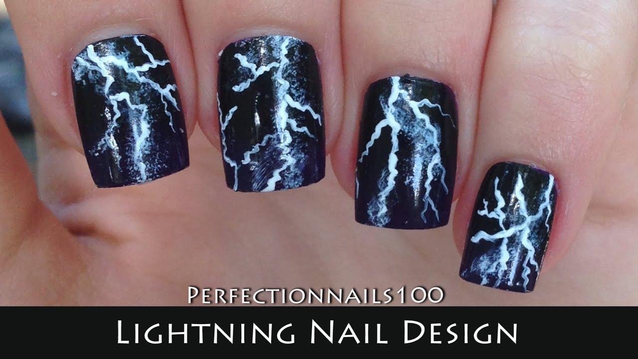 Nail Art Lightning Design Freehand Tutorial