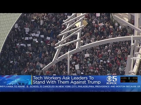Silicon Valley Tech Workers Stage Protest Against Trump's Ban