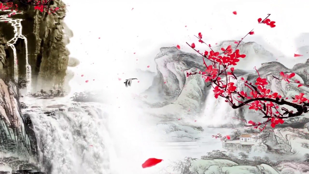 Ink mountain waterfall plum blossom background video - YouTube