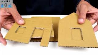 صناعة بيت من الكرتون المقوى في دقيقتين 🏠 لايفوتكم 😚😚