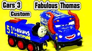 Pixar Cars 3 Fabulous Thomas Custom with Miss Fritter Primer Lightning McQueen and Jackson Storm