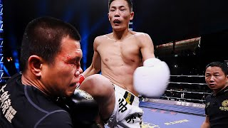 """Fire boy"" Shuai Qi knees off the Thai boxer nose, blood flowing face"