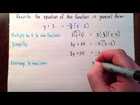 Changing From Slope Point Form To General Form Youtube
