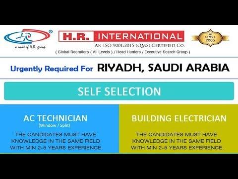 Urgently Required For Riyadh, Saudi Arabia