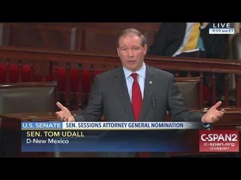 Senator Tom Udall reads Coretta Scott King letter oppsing Jeff Session as Attorney General