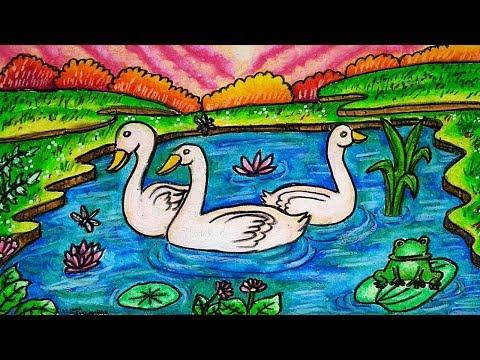 Cara Menggambar Dan Mewarnai Tema Pemandangan Danau Dengan Angsa Dengan Gradasi Warna Oil Pastel Youtube