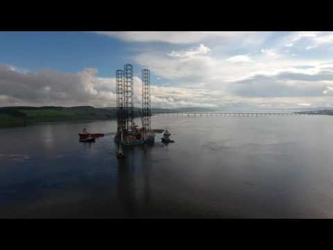 Rowan Norway (Offshore Jack-up Drilling Rig) Arrives in Dundee - DJI Phantom 4 4K