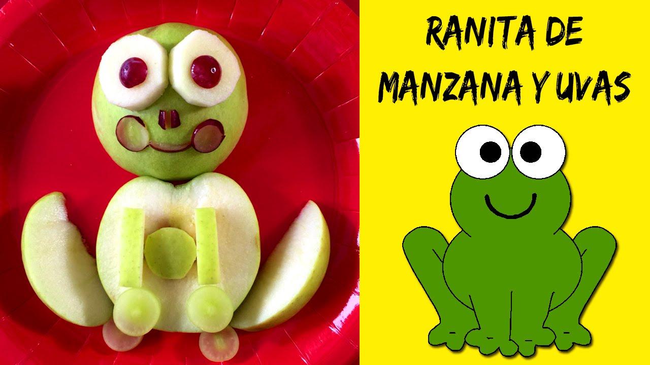 RANA con manzana y uvas * MERIENDAS infantiles fáciles - YouTube