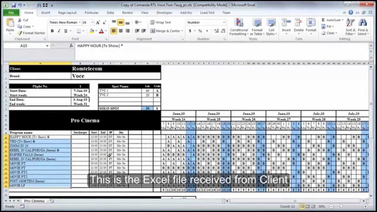 how to import media plan from excel file youtube